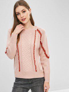Suéter Tejido De Cable Con Cordones - Rosa