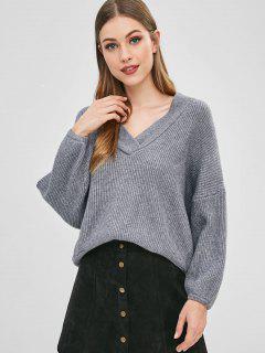 Suéter De Gran Tamaño Con Cuello En V - Gris