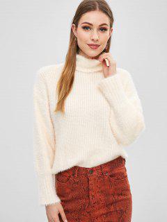 Fuzzy Side Slit Jersey De Cuello Alto - Albaricoque