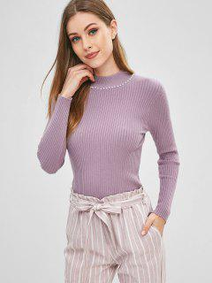 Beaded Mock Neck Sweater - Mauve