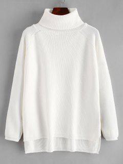 Raglan Sleeve Turtleneck Slit Sweater - Weiß