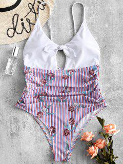 ZAFUL Bowknot Printed Ruched Striped Swimsuit - Multi-a L