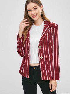 Double Breasted Striped Blazer - Firebrick L