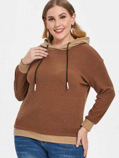 Plus Size Cable Ribbed Hoodie - Camel Brown 2x