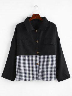 Button Down Gingham Plus Size Shirt - Black 3x