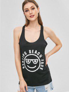 Camiseta Sin Mangas Con Estampado De Racerback En La Cara - Negro M