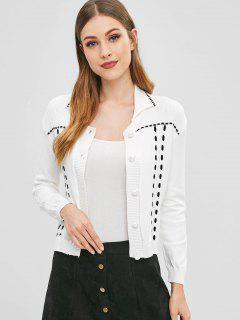 Strappy Cable Knit Cardigan - Blanco