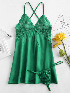 Lace Satin Babydoll Dress Lingerie Set - Clover Green M