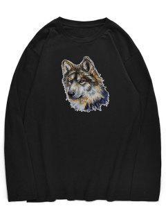 Crew Neck Wolfhound Pattern T-shirt - Black M