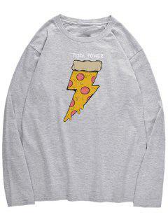 Long Sleeve Pizza Print T-shirt - Gray Cloud S