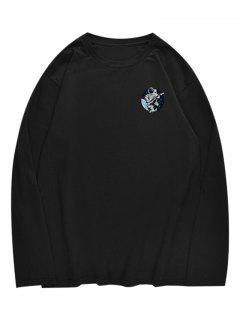 T-shirt à Col Ras Du Cou De L'astronaute - Noir S