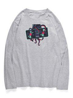 Pulpo Cuello Redondo Camiseta Estampada - Nube Gris S