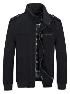 Stand Collar Pockets Casual Jacket - Black S