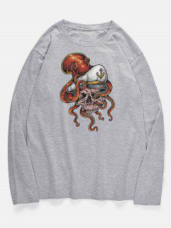 Long Sleeve Skull Octopus Pattern T-shirt - Gray Cloud M