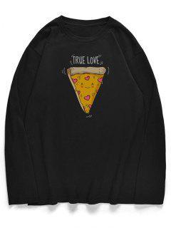 T-shirt Motif De Pizza Mignon à Col Rond - Noir S