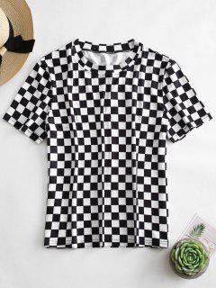 Camiseta A Cuadros De Manga Corta ZAFUL - Multicolor M