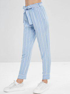 Belted Striped High Waisted Tapered Pants - Light Blue M