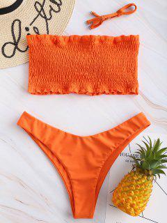 ZAFUL Frilled Padded Smocked Bikini Set - Papaya Orange M