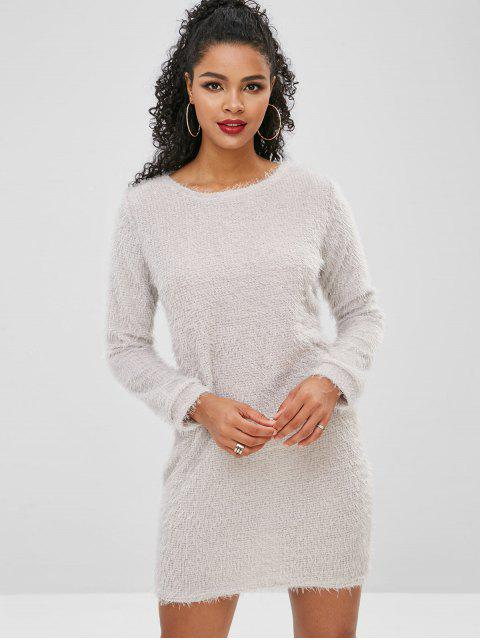 lady Fluffy Textured Mini Dress - LIGHT GRAY XL Mobile