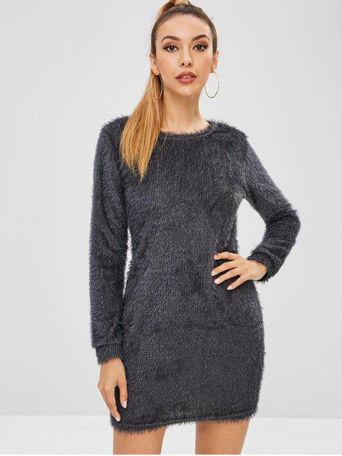 hot Fluffy Textured Mini Dress - CARBON GRAY M Mobile
