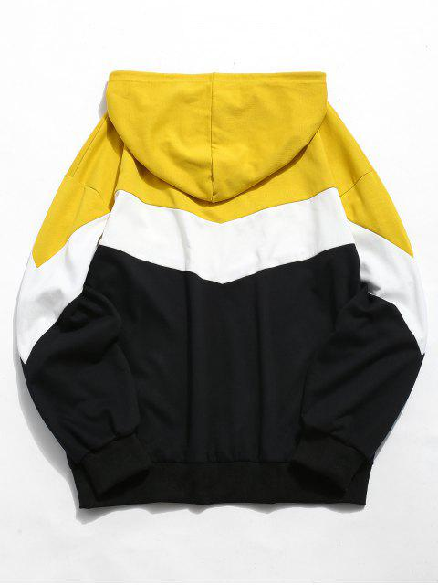 affordable ZAFUL Contrast Color Casual Hoodie - YELLOW 2XL Mobile