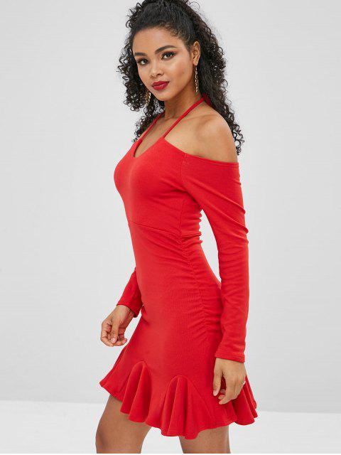 womens Off Shoulder Halter Short Mermaid Dress - LAVA RED S Mobile