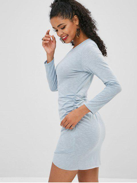women's Cinched Raw Hem Bodycon Dress - SKY BLUE XL Mobile