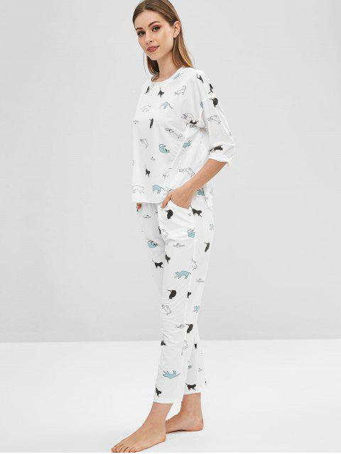 fancy Drop Shoulder Cat Print Pajama Set - WHITE XL Mobile