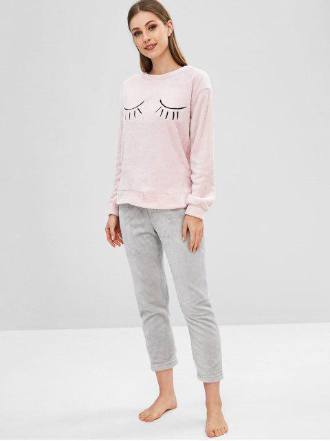 unique Fluffy Embroidered Color Block Pajama Set - SAKURA PINK XL Mobile