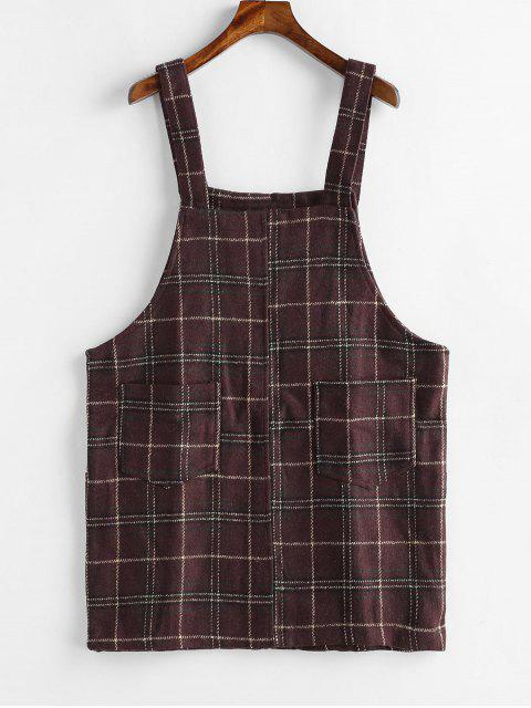 best Mini Plaid Pinafore Dress with Pocket - COFFEE ONE SIZE Mobile