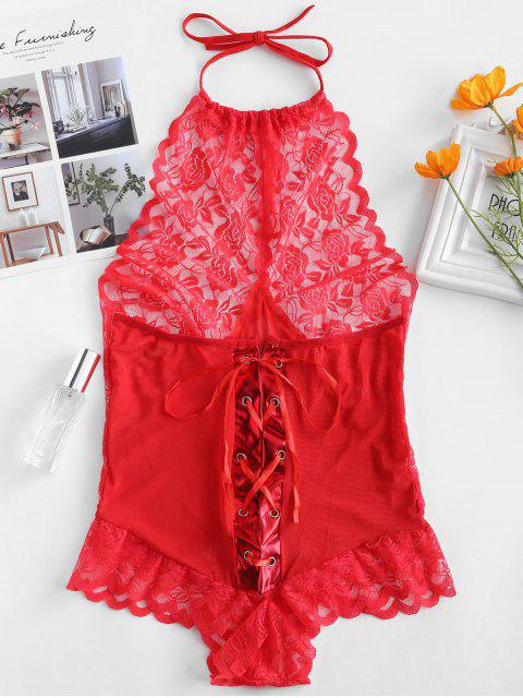 fashion Lace Tulle Halter Lingerie Teddy Bodysuit - RED M Mobile