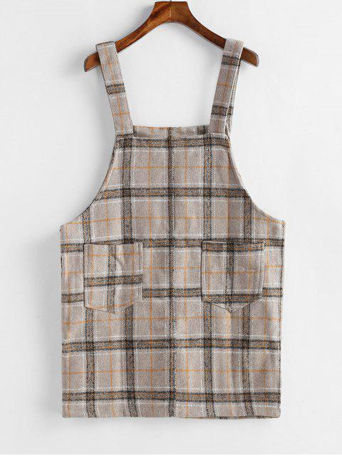online Mini Plaid Pinafore Dress with Pocket - TAN ONE SIZE Mobile