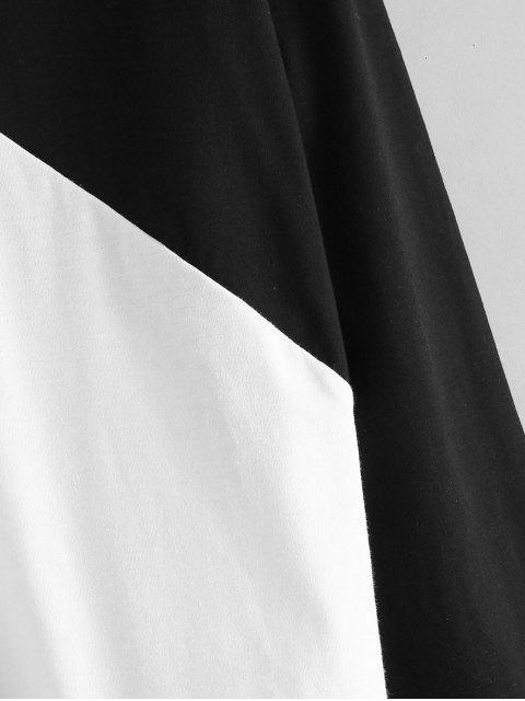 fancy Tricolor Paneled Color Block Tee - BLACK S Mobile