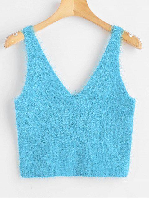 womens Vest Textured V Neck Sweater - TURQUOISE L Mobile