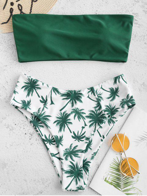buy Coconut Palm Bandeau Bikini Set - MEDIUM FOREST GREEN S Mobile