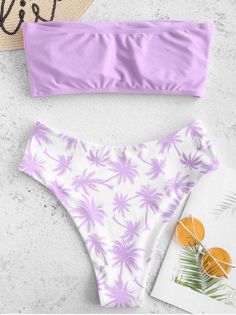 ladies Coconut Palm Bandeau Bikini Set - MAUVE S Mobile