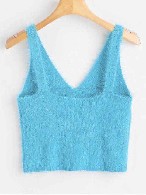 shops Vest Textured V Neck Sweater - TURQUOISE XL Mobile