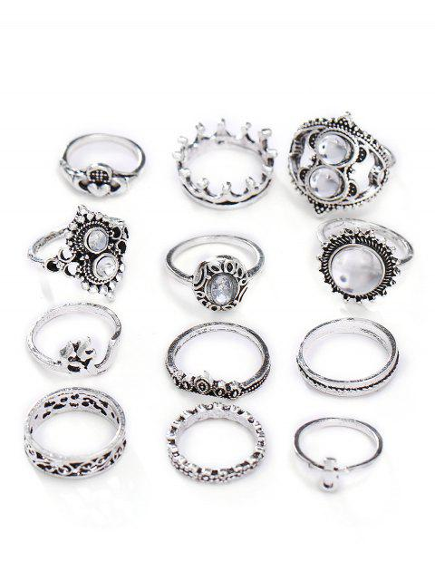 new Hollow Out Rhinestone Alloy Rings Set - SILVER  Mobile