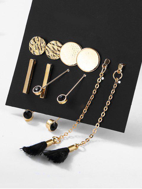 women 5Pcs Ethnic Style Tassel Rhinestoned Drop Earrings Set - GOLD  Mobile