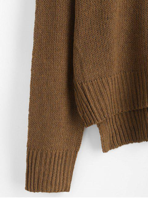 sale Drop Shoulder High Low Slit Sweater - BROWN ONE SIZE Mobile