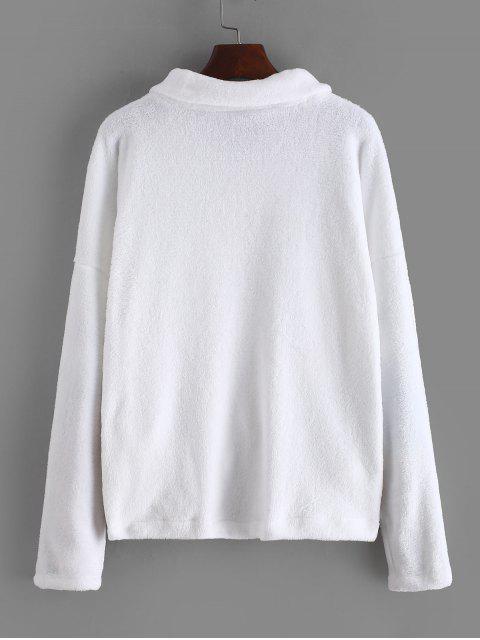 new Zipper Raglan Sleeve Fluffy Jacket - WHITE M Mobile