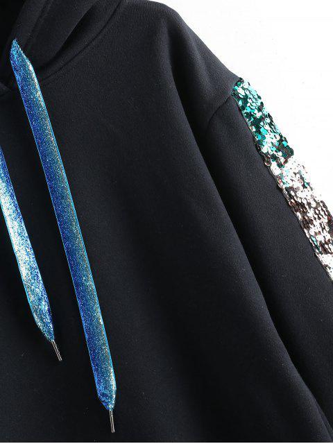 fancy Fleece Sequined Glitter Slit Hoodie Dress - BLACK M Mobile