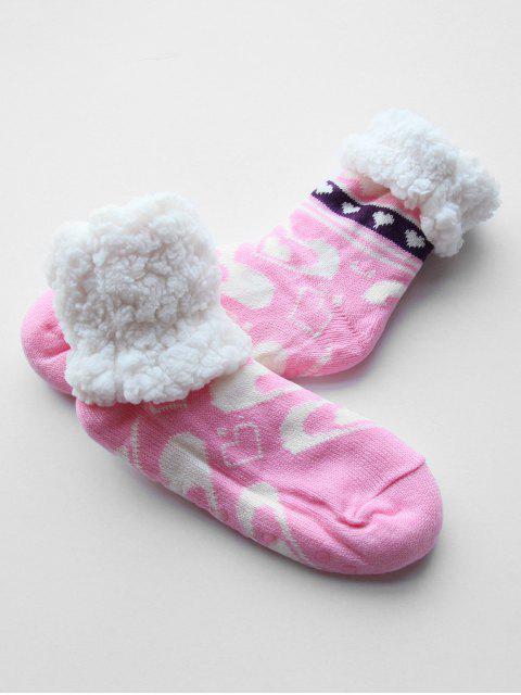 fancy Heart Shape Fleece Winter Socks - PINK  Mobile