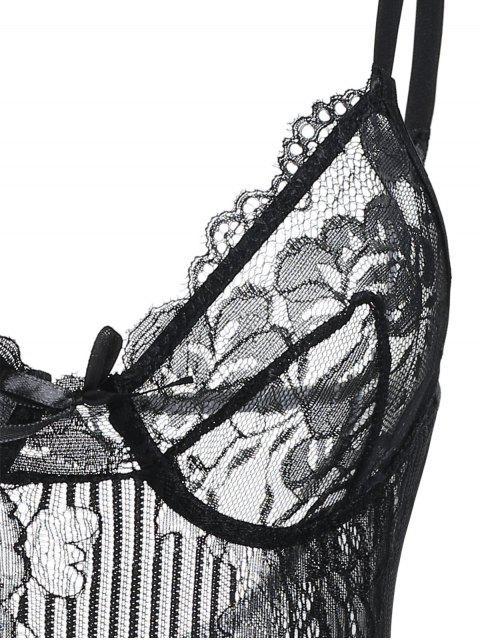 best Lace See Through Cami Bodysuit - BLACK L Mobile