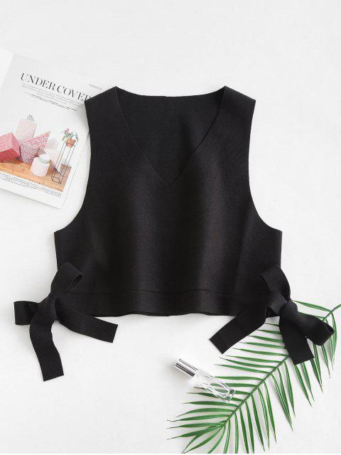 unique V Neck Tie Side Crop Waistcoat - BLACK ONE SIZE Mobile