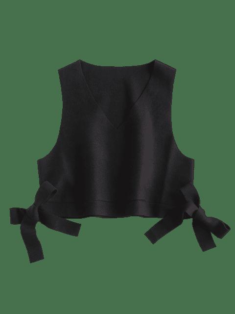 unique V Neck Tie Side Crop Waistcoat - BLACK ONE SIZE Mobile