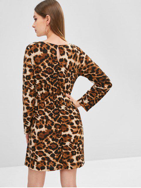 Robe Nouée Léopard Imprimé à Manches Longues - Léopard S Mobile