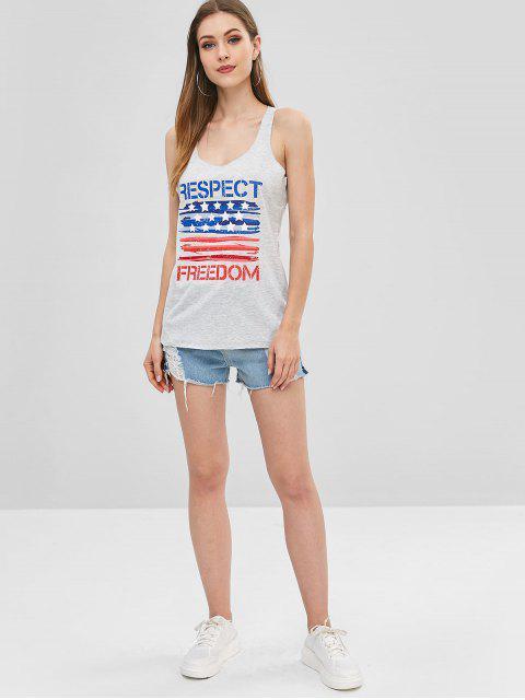 buy American Flag Print Letter Racerback Tank Top - LIGHT GRAY M Mobile