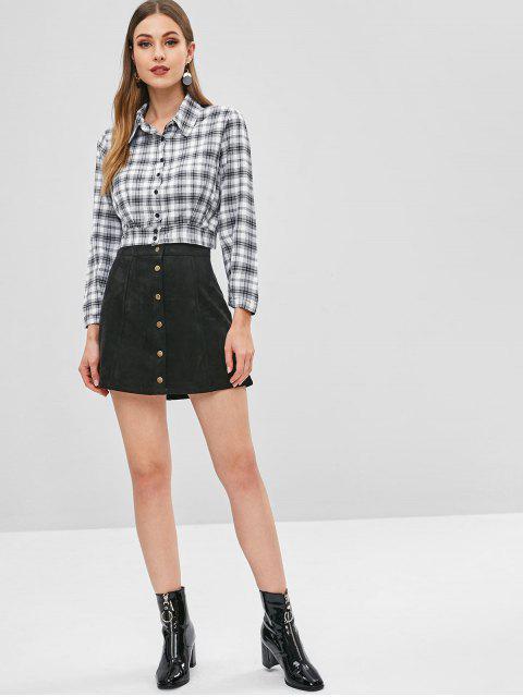women Cropped Plaid Shirt - MULTI XL Mobile