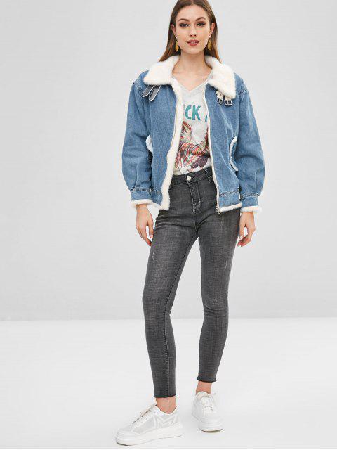 new Buckled Faux Fur Lined Winter Denim Jacket - DENIM BLUE M Mobile